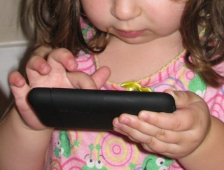 A child with an iPhone